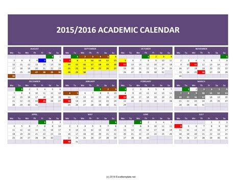 2015 academic calendar template templates excel spreadsheets 2015 2016 academic