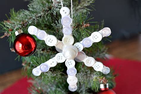 popsicle stick button snowflake homemade christmas tree