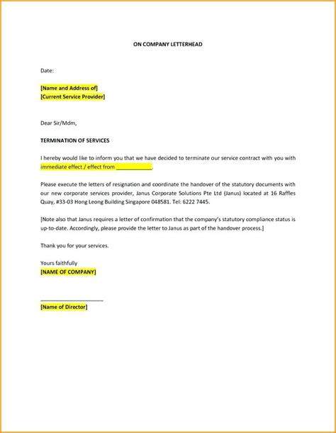 sample letter termination employment due poor