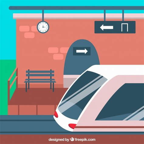 banco imagenes vectores gratis estaci 243 n de tren con banco y tren descargar vectores gratis