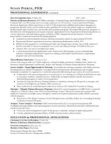 human resources resume exle sle