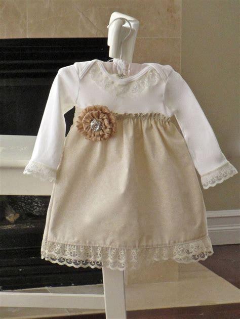 shabby chic dress baby girls vanilla cream lace onesie dress with flower pin newborn 24 m