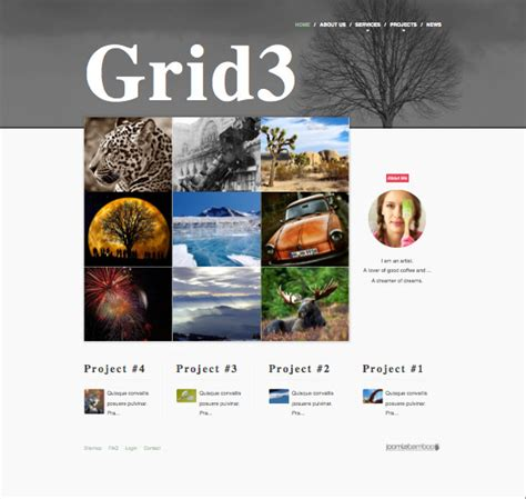 grid3 responsive joomla photographer template for photo sites