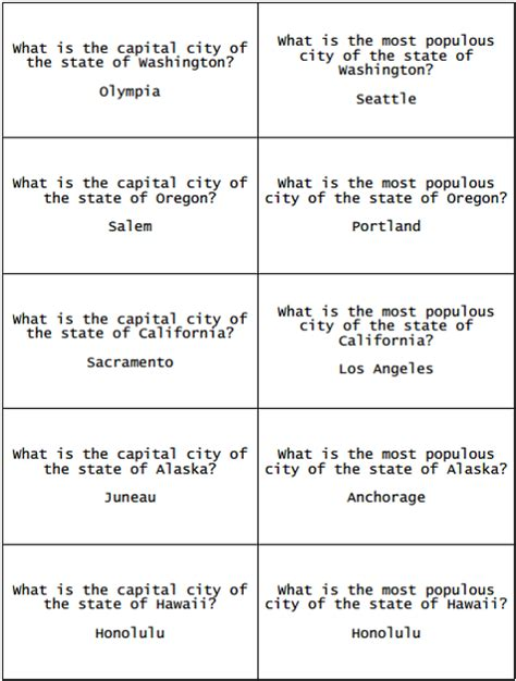printable quiz cards fifty states flashcards for study game free to print