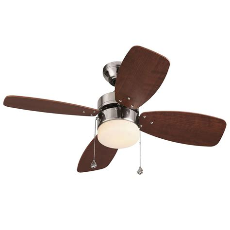 36 Ceiling Fans With Lights Shop Harbor Riverview 36 In Brushed Nickel Downrod