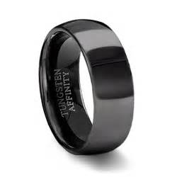 black wedding band polished black tungsten wedding band mens black wedding ring