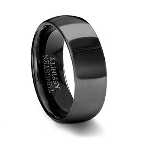 Black Wedding Bands by Polished Black Tungsten Wedding Band Mens Black Wedding Ring