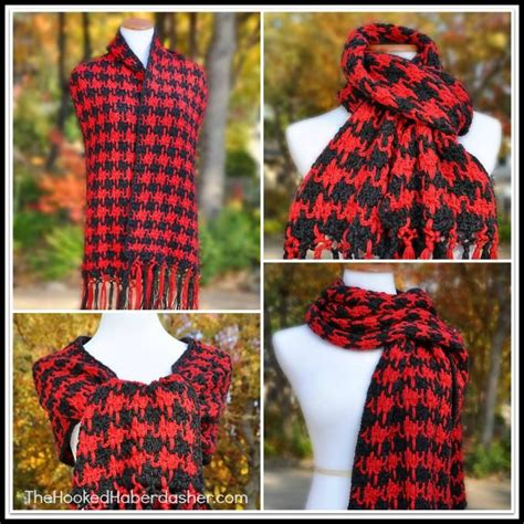 knitting pattern houndstooth scarf hookin on hump day 110 link party for crochet and