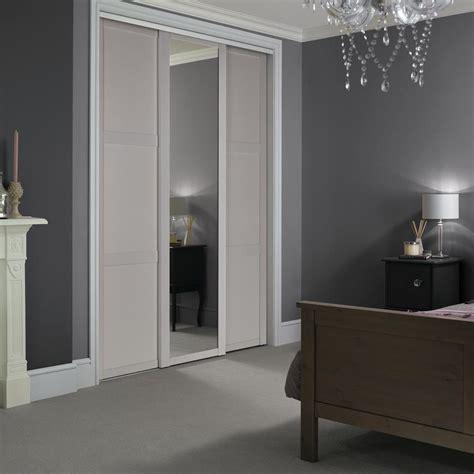Howdens Wardrobes - shaker dove grey panel sliding wardrobe door howdens