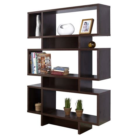 Modern Brown Wooden Display Shelf Modern 63 Inch High Bookcase Geometric Display Shelf In