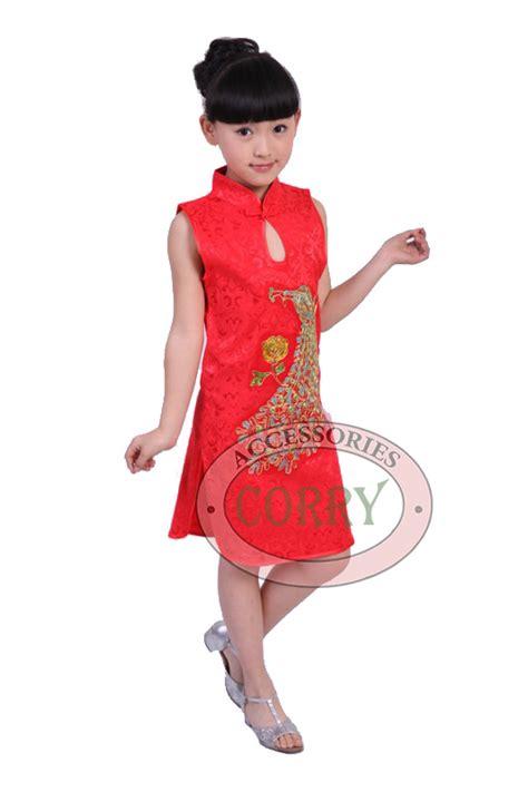 Baju Cheongsam Anak jual baju dress cheongsam anak perempuan cina merah burung