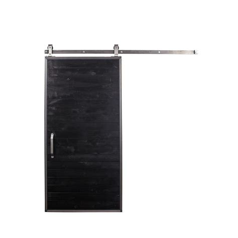 Rustica Hardware 42 In X 84 In Mountain Modern Matte Black Barn Door Hardware