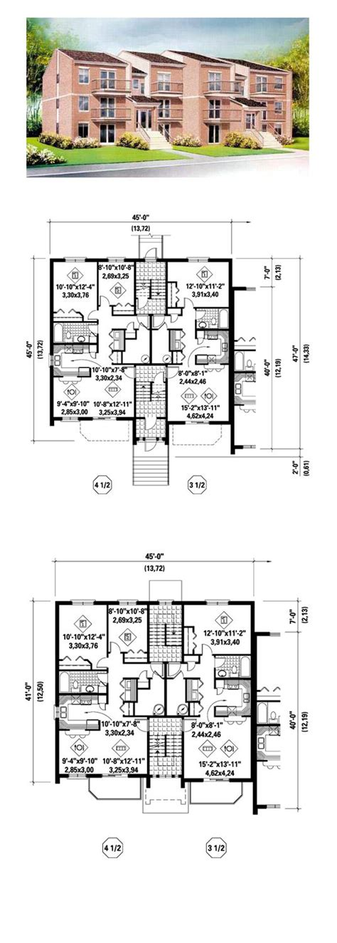 multi family plan 52425 at familyhomeplans com 1000 images about duplex multi family abodes on