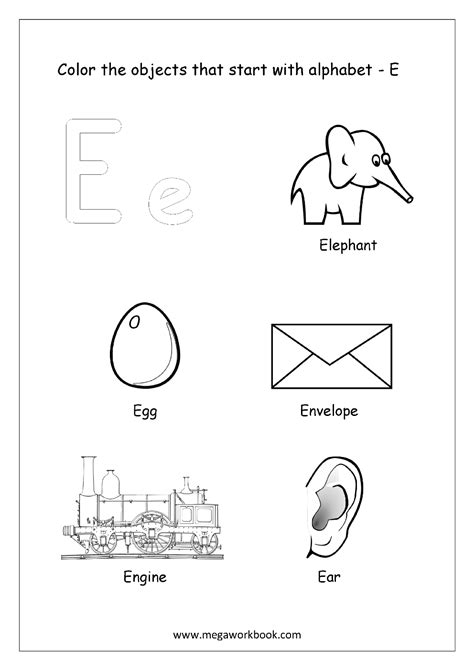 color beginning with e alphabet picture coloring pages things that start with