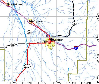 bozeman mt map bozeman montana mt 59715 59718 profile population
