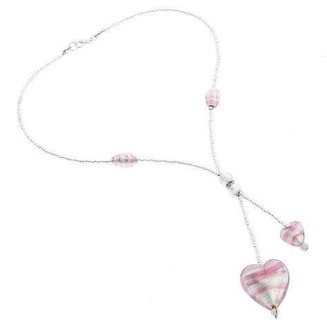 Ac01 Stripe Tie Necklace murano necklaces murano tie necklace striped silver pink