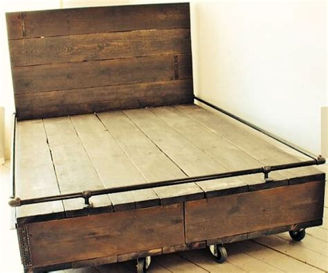 pipe bed reclaimed wood and iron pipe bed