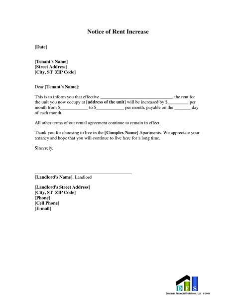 sample rent increase letter rental increase letter template sample