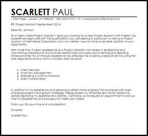 project assistant cover letter sle livecareer