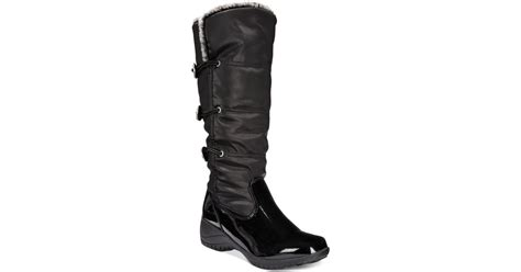 khombu abigail cold weather wedge boots in black lyst