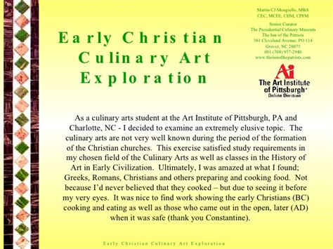 Mba In Culinary Arts by Early Christian Culinary Exploration