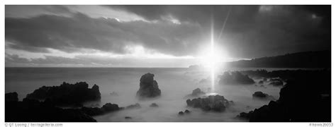 black white panoramic black and white picture photo seascape with