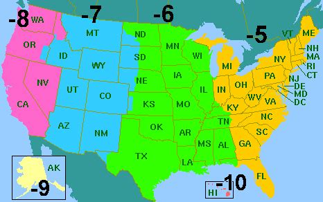 maps: usa map standard time