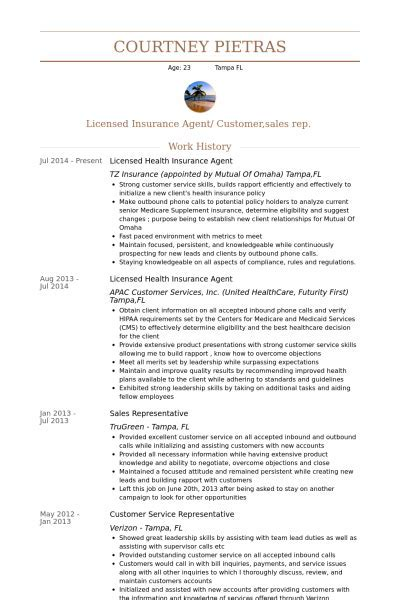 sample resume for insurance agent independent insurance agent - Independent Insurance Agent Sample Resume