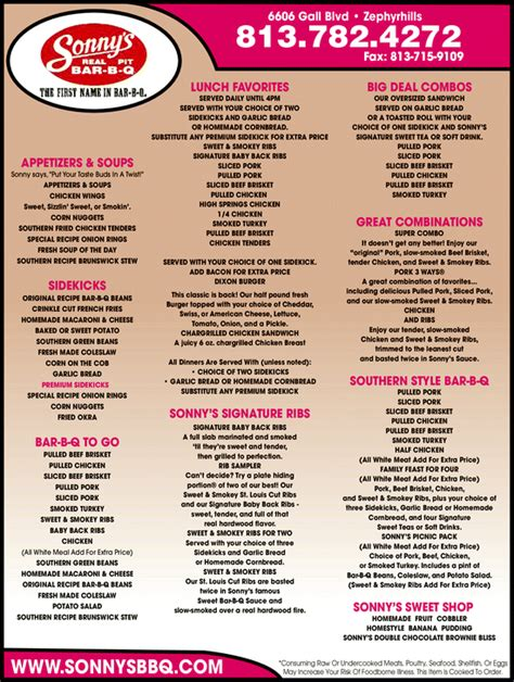 Tops Bar Bq Menu by Sonny S Real Pit Bar B Q Zephyrhills Fl 33542 Yellowbook