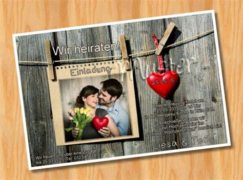 Hochzeitseinladung Einseitig by Ausgefallene Fotokarten Einladungskarten Einladungen