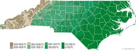 carolina elevation map map of carolina