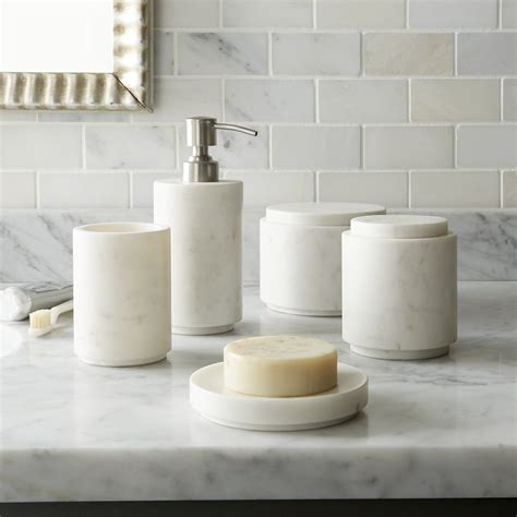 bathroom counter accessories high low marble bath accessories remodelista