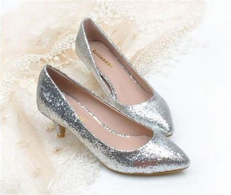 silver low heel pumps pointed toe silver black gold