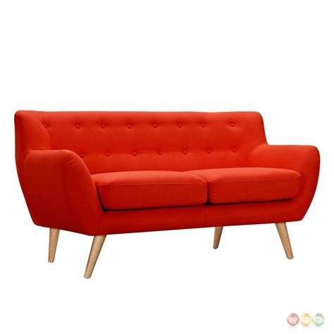 orange loveseat ida modern orange button tufted upholstered loveseat w