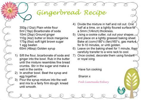 gingerbread recipe recipes pink lemonade bakery