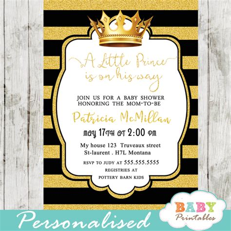 Prince Baby Shower Invitations by Black And Gold Royal Prince Baby Shower Invitation D271