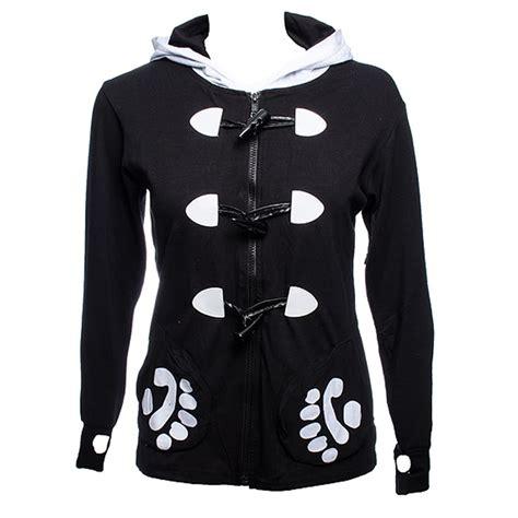 Jaket Hodie Footpint Panda banned hoodies black panda paw hooded tops womens