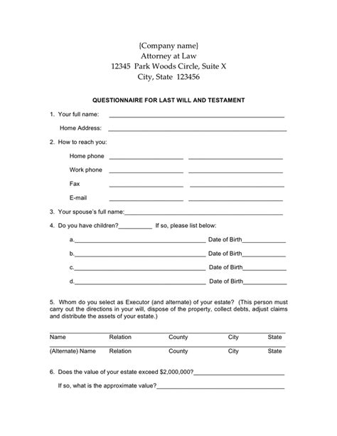 will and testament template word last will and testament form free documents for