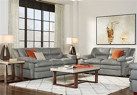 Grey Leather Living Room Furniture Aventino Gray Leather 3 Pc Living Room Classic Transitional