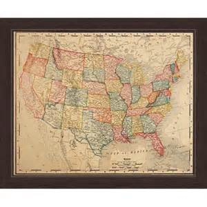 us canvas map click wall colored map of the united states framed