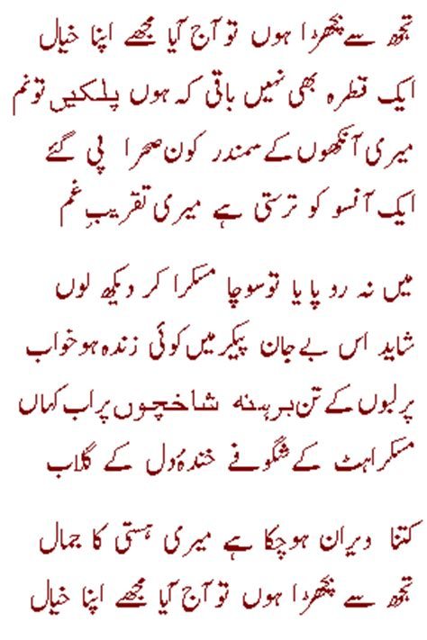 tujh se ahmad fraz poetry and gazhals