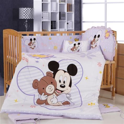 Mickey Mouse Crib Bedding Set Promotion 8pcs Mickey Mouse Baby Crib Bedding Set For Newborn Baby Bed Linens