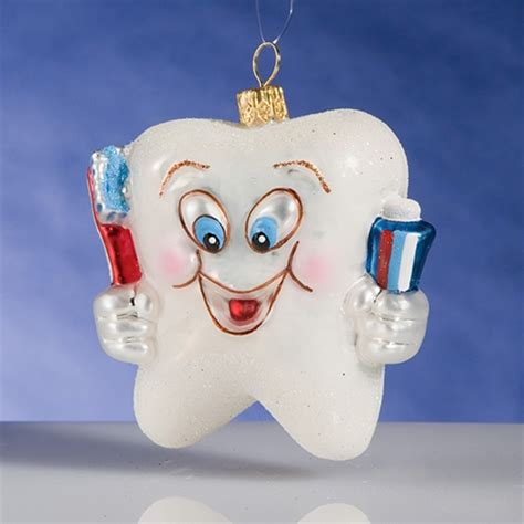 happy tooth polish glass christmas ornament the cottage shop