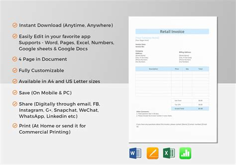 retail invoice template retail invoice template in word excel apple pages numbers