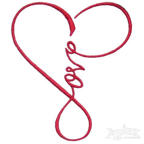 design art love love heart infinity embroidery design apex embroidery