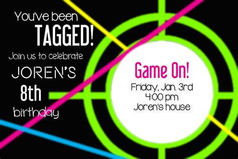 Laser Tag Invitations Templates larcie bird neon laser tag birthday