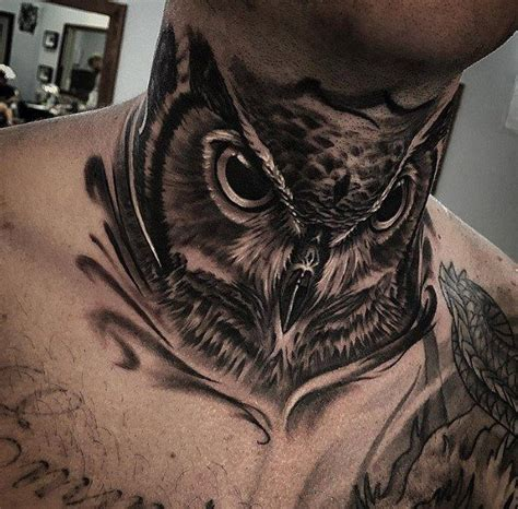 tattoo designs neck male 30 owl neck designs for bird ink ideas