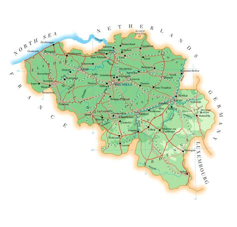 belgium geographical map physical map of belgium size
