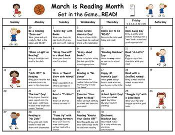 Elementary Reading Log Calendar March - march is reading month calendar of activities