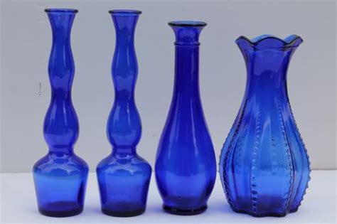 Blue Crystal Chandeliers Cobalt Blue Glass Vases Lot Collection Of Vintage Blue